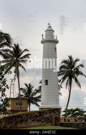 Lighthouse in Galle Fort in Bay of Galle on southwest coast of Sri Lanka. - Stock Photo