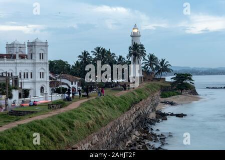Galle, Sri Lanka. 2019 Nov 19 :  People visit the Lighthouse in Galle Fort in Bay of Galle on southwest coast of Sri Lanka. - Stock Photo
