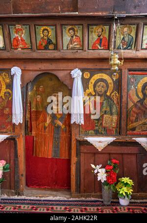 Icons of Saints on the templon in the little 18th cen, church of Agios Athanasios in the village of Agios Germanos near Lake Prespa in the Prespes Mun - Stock Photo