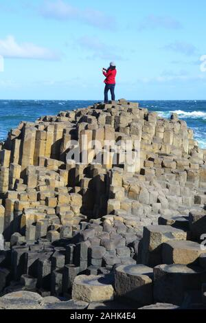 Massive basalt columns of the Giant's Causeway with woman in red jacket standing on the summit taking photographs with her mobile phone, blue sky and