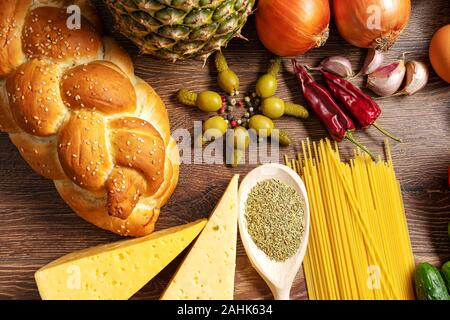 Assorted Fresh Vegetables and Fruits Side Light - Stock Photo