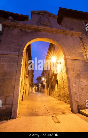 Olite is a beautiful medieval village in Navarre province, Spain - Stock Photo
