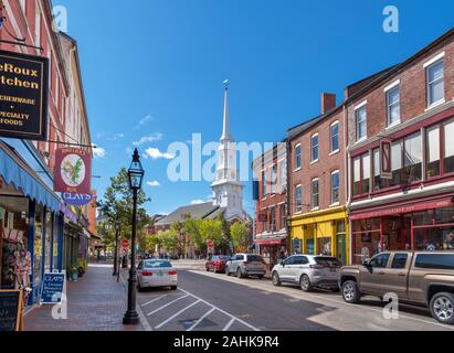 Market Street looking towards North Church in the centre of downtown Portsmouth, New Hampshire, USA - Stock Photo