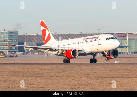 Stuttgart, Germany - December 30, 2019: Eurowings Airbus A319 airplane at Stuttgart airport (STR) in Germany. Airbus is an aircraft manufacturer from - Stock Photo