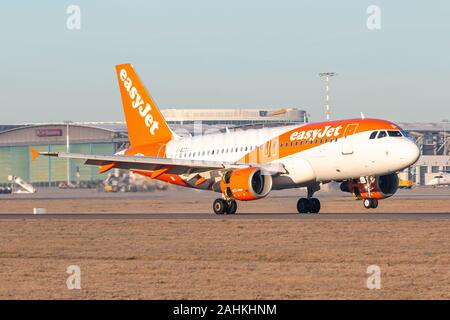 Stuttgart, Germany - December 30, 2019: EasyJet Airbus A319 airplane at Stuttgart airport (STR) in Germany. Airbus is an aircraft manufacturer from To - Stock Photo