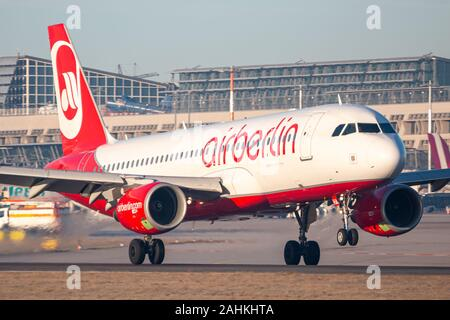 Stuttgart, Germany - December 30, 2019: Air Berlin Airbus A320 airplane at Stuttgart airport (STR) in Germany. Airbus is an aircraft manufacturer from - Stock Photo