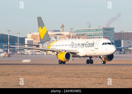 Stuttgart, Germany - December 30, 2019: Thomas Cook Airbus A320 airplane at Stuttgart airport (STR) in Germany. Airbus is an aircraft manufacturer fro - Stock Photo