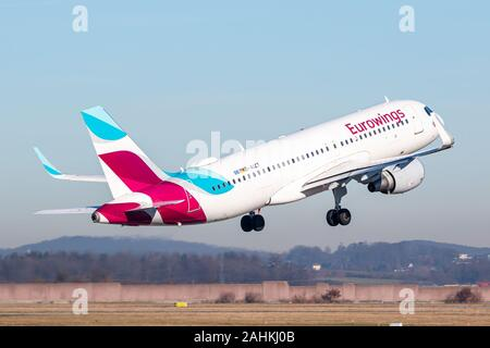 Stuttgart, Germany - December 30, 2019: Eurowings Airbus A320 airplane at Stuttgart airport (STR) in Germany. Airbus is an aircraft manufacturer from - Stock Photo