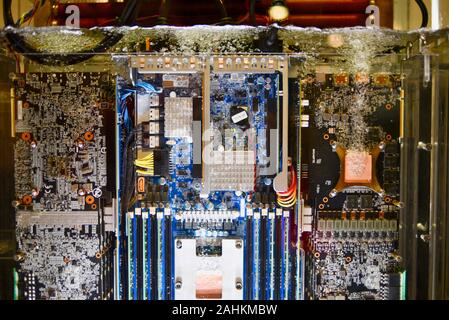 Gigabyte two-phase immersion liquid (3M Novec fluid) cooling completely submerged data center/server type computer at CES, Las Vegas, NV, USA.