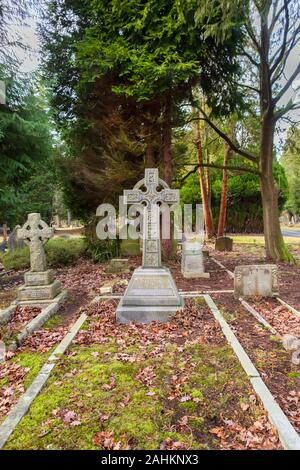 View of South Cemetery and old gravestones and memorials, Brookwood Cemetery, Cemetery Pales, Brookwood, Woking, Surrey, southeast England, UK - Stock Photo