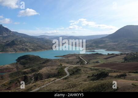 View of the turquoise coloured reservoir, in Zahara de la Sierra, Sierra de Grazalema Natural Park, Andalucia, Spain - Stock Photo