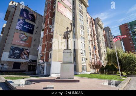 PRISHTINA, KOSOVO - NOVEMBER 11, 2016: Bill Clinton Statue on Bill Klinton boulevard. The statue was erected to thank Clinton action, as a US presiden - Stock Photo