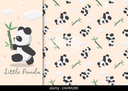 Seamless childish pattern with panda and bamboo. Illustration of panda is carrying bamboo. - Stock Photo