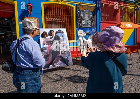 Asian tourists in La Boca, Buenos Aires, Argentina - Stock Photo