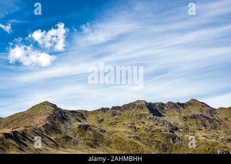Wide alpine mountain range and peaks against blue sky, Zillertal, Austria. Lots of copy space. - Stock Photo