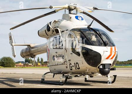 A McDonnell Douglas MD902 helicopter of the Belgian Federal Police. - Stock Photo
