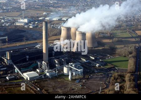 aerial view of Fiddlers Ferry power station, Warrington, Cheshire, UK