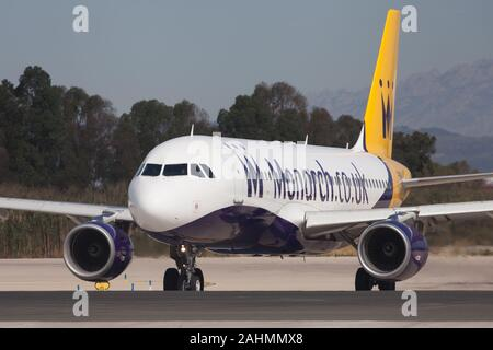 Barcelona, Spain - August 11, 2017: Monarch Airlines Airbus A320-200 on the taxiway at El Prat Airport in Barcelona, Spain. - Stock Photo