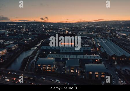 Industrial Sheffield City aerial view at sunset showing warehouses and factories