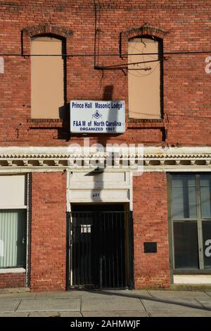 The Prince Hall Masonic Lodge sits boarded up on the south end of downtown Raleigh North Carolina. - Stock Photo