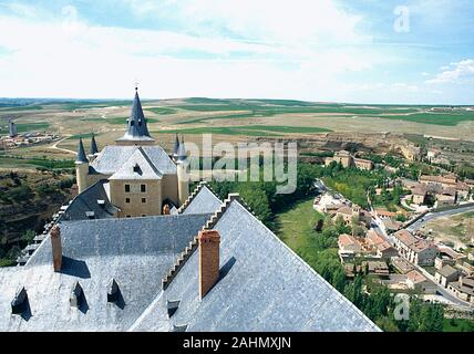 Overview from the keep of the Alcazar. Segovia, Spain. - Stock Photo