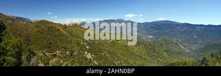 Landscape of Corsican Natural Regional Park around Riventosa village, canton de Venaco in central Corsica, Haute-Corse, France