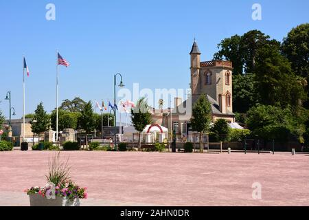 The square at St Mere Eglise, France, the first village in Normandy liberated by the United States Army on D-Day, June 6, 1944. - Stock Photo
