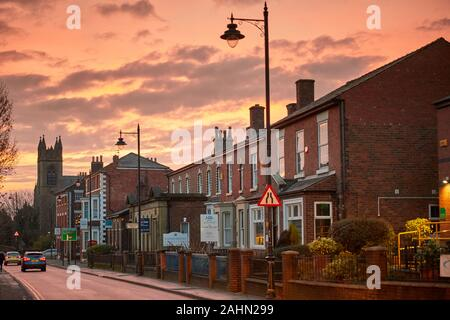 Sunrise at Ormskirk is a market town in West Lancashire, England, Emmanuel Methodist United Reformed Church on Derby Street  in the town centre - Stock Photo