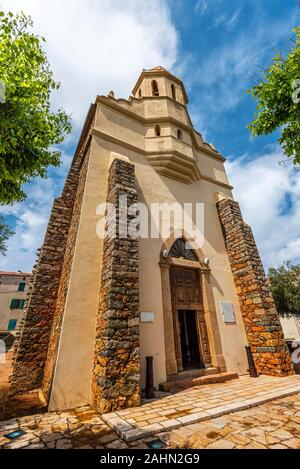 The Greek Catholic church of Saint Spyridon in Corsican village Cargese. Corse-du-Sud, France - Stock Photo