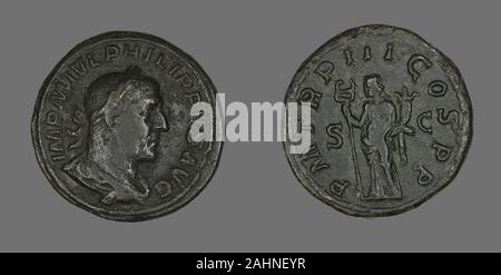 Ancient Roman. Sestertius (Coin) Portraying King Philip I. 246 AD. Rome. Bronze - Stock Photo