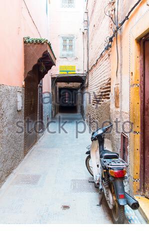Narrow lanes inside the old town of Medina in Marrakech (Marrakesh) - Stock Photo