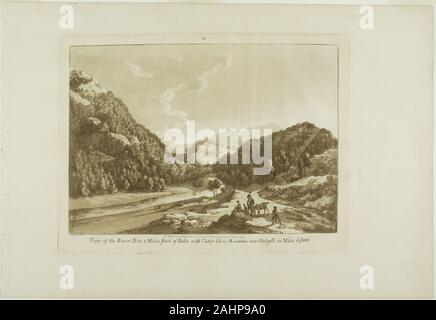 Paul Sandby. View of the River Dee 3 Miles Short of Bala, with Cadar-Idris Mountain near Dolgelli 30 Miles Distant. 1776. England. Aquatint on cream laid paper - Stock Photo