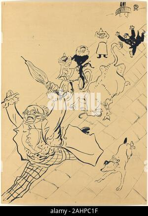 Henri de Toulouse-Lautrec. La vache enragée. 1896. France. Lithograph poster on tan wove paper, laid down on fabric - Stock Photo