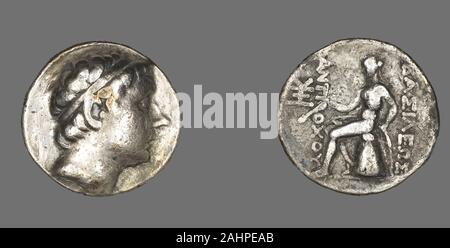 Ancient Greek. Tetradrachm (Coin) Portraying King Antiochus III The Great. 223 BC–187 BC. Ancient Near East. Silver Coinage of Hellenistic RulersThe Hellenistic period spans the nearly three hundred years between the death of Alexander the Great of Macedonia (323 B.C.) and that of Cleopatra VII of Egypt (30 B.C.), a descendant of one of Alexander's generals. The term Hellenistic is derived from Hellas, an ancient Greek word for Greece. It is used to describe both chronologically and culturally the era following Alexander's conquest of Egypt and Asia, which resulted in the spread of Greek cultu - Stock Photo