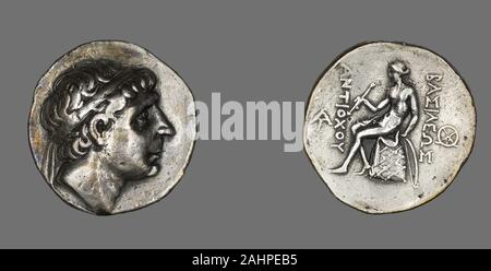 Ancient Greek. Tetradrachm (Coin) Portraying King Antiochus I Soter. 281 BC–261 BC. Ancient Near East. Silver Coinage of Hellenistic RulersThe Hellenistic period spans the nearly three hundred years between the death of Alexander the Great of Macedonia (323 B.C.) and that of Cleopatra VII of Egypt (30 B.C.), a descendant of one of Alexander's generals. The term Hellenistic is derived from Hellas, an ancient Greek word for Greece. It is used to describe both chronologically and culturally the era following Alexander's conquest of Egypt and Asia, which resulted in the spread of Greek culture acr - Stock Photo