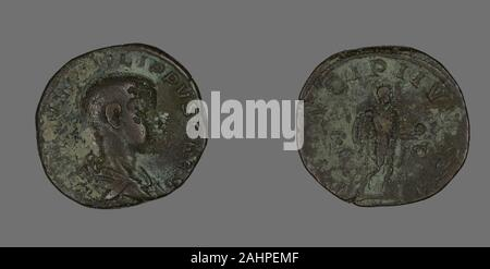 Ancient Roman. Sestertius (Coin) Portraying King Philip II. 244 AD–246 AD. Roman Empire. Bronze - Stock Photo