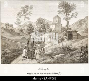 Ferdinand Olivier. Wednesday Footpath on the Mönchsberg Near Salzburg. 1823. Germany. Lithograph with tint-stone on white wove paper - Stock Photo