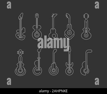 White silhouettes isolated on a dark background Guitar Icons vector illustration. Set of line art editable vector icons. Each guitar icon is on a sepa - Stock Photo