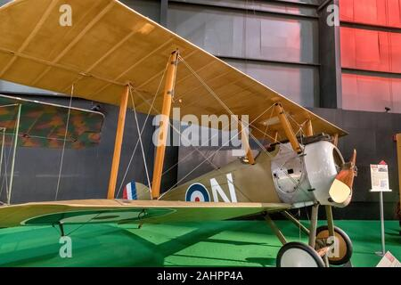 Sopwith Camel. WWI Sopwith F.1 Camel airplane at the National Museum of the United States Air Force (formerly the United States Air Force Museum), Dayton, Ohio, USA - Stock Photo