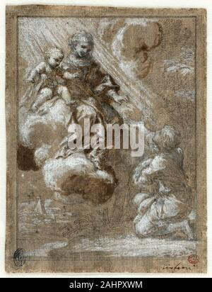 Ciro Ferri. The Madonna and Child in Glory Appearing to a Kneeling Young Man. 1655–1659. Italy. Black chalk and brush and brown wash, incised with graphite, heightened with white gouache, on ivory laid paper, prepared with brown wash (recto); graphite or black chalk on ivory laid paper (verso) This precious, small, finished and signed composition was one of some 100 images Roman Baroque artist Ciro Ferri made to be engraved. In this case, French engraver Guillaume Chasteau reproduced the composition but changed the supplicant to a prisoner offering chains to the Virgin and Child. Marks identif - Stock Photo