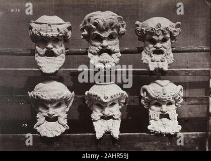 Louis-Emile Durandelle. Masks from the Control Room (Masques du vestibule de contrôle). 1865–1872. France. Albumen print, from Le Nouvel Opéra de Paris, Sculpture Ornementale (1875) One of the most accomplished architectural photographers in 19th-century France, Louis-Émile Durandelle is best known for his comprehensive documentation of construction of the new Paris Opéra in 1861–75. The Opéra was an opulent structure that would come to symbolize the ambitions of Second Empire Paris. Between 1865 and 1872 Durandelle produced some 200 images of the building, and published 115, including this on - Stock Photo