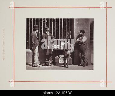 John Thomson. The Dramatic Shoe-Black. 1877. Scotland. Woodburytype, from the album Street Life in London - Stock Photo