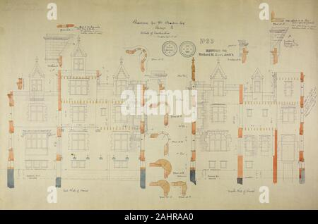 Richard Morris Hunt (Architect). William Borden Residence, Chicago, Illinois, Construction Details. 1885–1886. Chicago. Watercolor on hectographic print, mounted on linen - Stock Photo