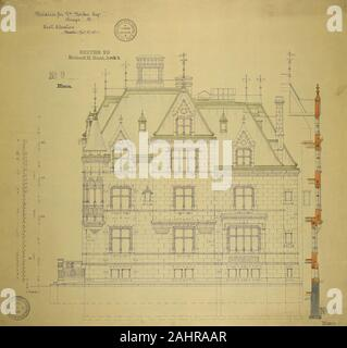 Richard Morris Hunt (Architect). William Borden Residence, Chicago, Illinois, East Elevation. 1886. Chicago. Watercolor on hectographic print, mounted on linen - Stock Photo