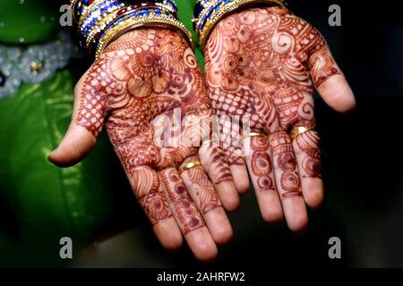 Art in girls hand using henna plant also called as mehndi design,style.it is a tradition in india. - Stock Photo