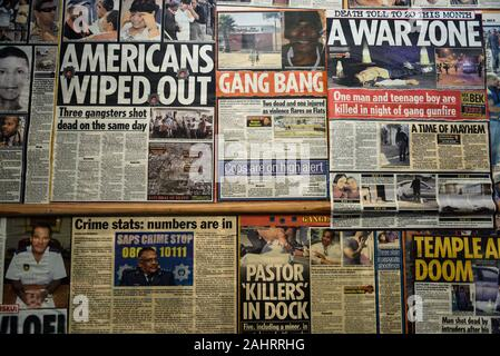 A media montage at NGO Ceasefire offices that uses former gangsters to combat high levels of gang violence in Cape Town's Hanover Park, South Africa - Stock Photo