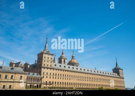 Facade of Royal Monastery. San Lorenzo del Escorial, Madrid province, Spain. - Stock Photo