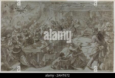 Tintoretto. Last Supper. 1538–1594. Italy. Brush and brown wash, heightened with lead white (partially oxidized), on blue laid paper, laid down on ivory laid paper - Stock Photo