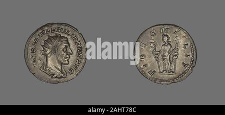 Ancient Roman. Denarius (Coin) Portraying King Philip II. 244 AD–247 AD. Rome. Silver Obverse Bust of Emperor Philip II, radiant crowned, to rightReverse Loyalty stands to left holding two standards - Stock Photo
