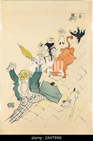 Henri de Toulouse-Lautrec. La vache enragée. 1896. France. Color lithograph poster on cream wove paper - Stock Photo